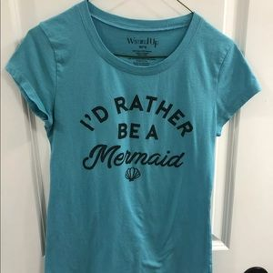 """I'd Rather Be A Mermaid"" Graphic Tee, Teal, Med"